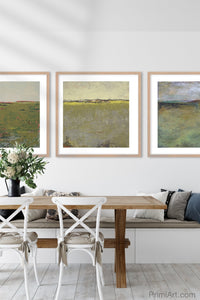 "Modern abstract landscape art ""Brassy Pastures,"" downloadable art by Victoria Primicias, decorates the dining room."