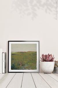 "Modern abstract landscape art ""Brassy Pastures,"" digital download by Victoria Primicias, decorates the shelf."