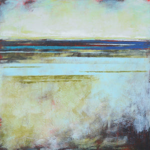 "Square coastal abstract landscape artwork ""Breaking Barriers,"" original printing by Victoria Primicias."