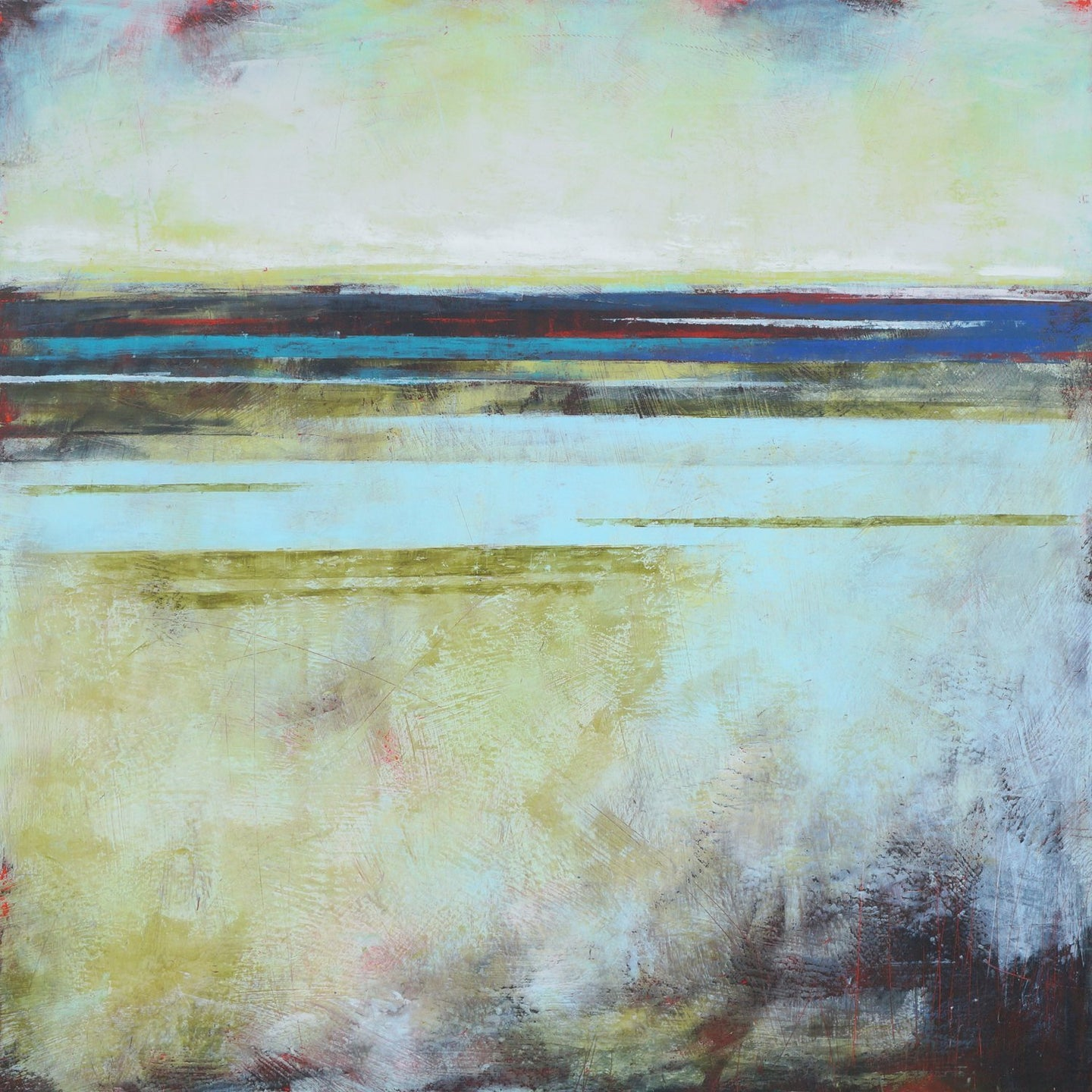 Square coastal abstract landscape artwork