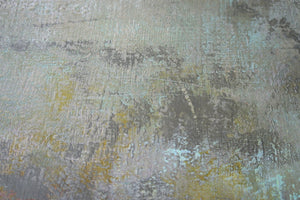 "Closeup detail of yellow and gray abstract seascape painting ""Butter Sky,"" contemporary original art by Victoria Primicias"