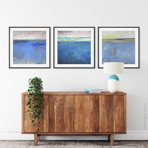 "Zen abstract beach wall art ""Carolina Shores,"" downloadable art by Victoria Primicias, decorates the hallway."