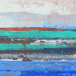 "Closeup detail of blue abstract seascape painting""Carolina Shores,"" wall art print by Victoria Primicias"