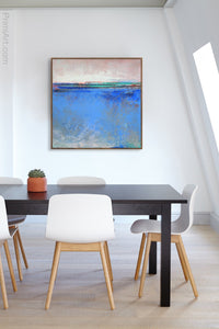 "Blue abstract seascape painting""Carolina Shores,"" wall art print by Victoria Primicias, decorates the office."