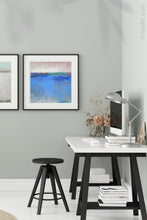 "Load image into Gallery viewer, Blue abstract seascape painting""Carolina Shores,"" wall art print by Victoria Primicias, decorates the office."