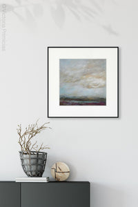 "Gray abstract landscape artwork ""Casual Vacancy,"" giclee print by Victoria Primicias, decorates the foyer."