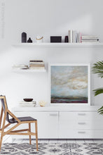 "Load image into Gallery viewer, Gray abstract landscape painting ""Casual Vacancy,"" giclee print by Victoria Primicias, decorates the office."