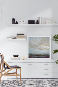 "Gray abstract landscape painting ""Casual Vacancy,"" giclee print by Victoria Primicias, decorates the office."