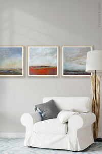 "Gray abstract landscape art ""Casual Vacancy,"" canvas print by Victoria Primicias, decorates the living room."