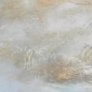 "Closeup detail of gray abstract landscape art ""Casual Vacancy,"" canvas wall art by Victoria Primicias"