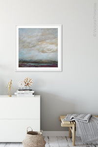 "Gray abstract landscape art ""Casual Vacancy,"" canvas print by Victoria Primicias, decorates the entryway."