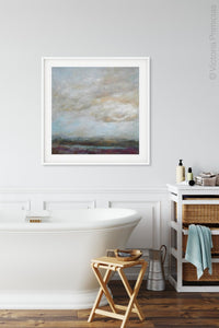 "Gray abstract coastal wall art ""Casual Vacancy,"" canvas wall art by Victoria Primicias, decorates the bathroom."