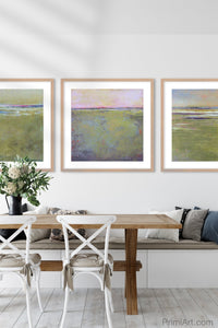 "Yellow green abstract landscape art ""Cayo Verde,"" digital print by Victoria Primicias, decorates the dining room."