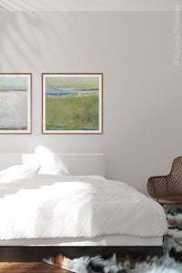 "Yellow green abstract ocean art ""Cayo Verde,"" digital print by Victoria Primicias, decorates the bedrooom."