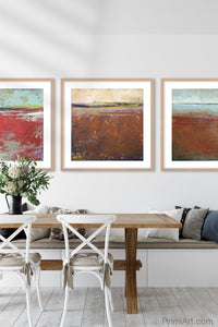 "Colorful abstract landscape art ""Cerise Harbor,"" digital download by Victoria Primicias, decorates the dining room."