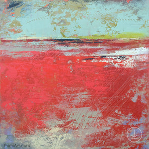 "Colorful abstract ocean painting ""Cerise Harbor,"" printable art by Victoria Primicias"
