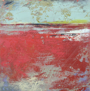 "Red abstract ocean painting ""Cerise Harbor,"" canvas print by Victoria Primicias"