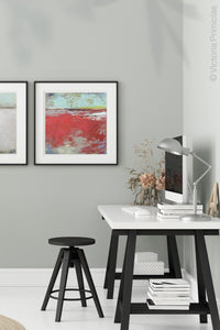 "Red abstract ocean painting ""Cerise Harbor,"" canvas print by Victoria Primicias, decorates the office."
