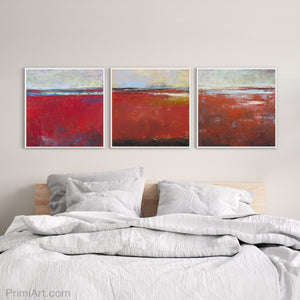 "Red abstract beach wall art ""Cherry Hollow,"" giclee print by Victoria Primicias, decorates the bedroom."