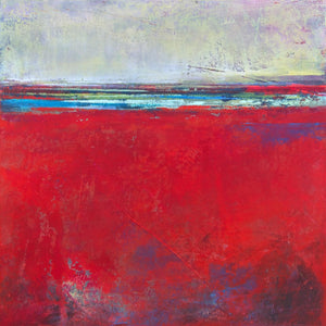 "Red abstract seascape painting ""Cherry Hollow,"" fine art print by Victoria Primicias"