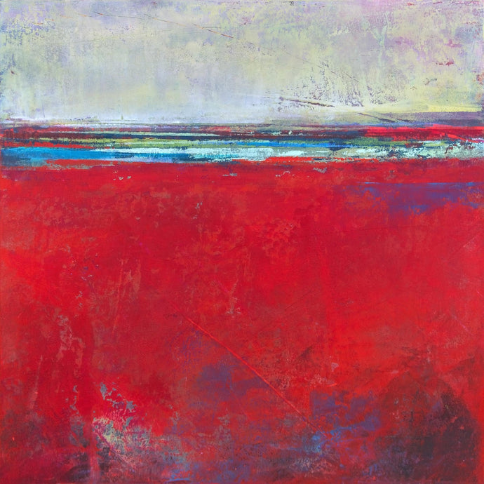 Red abstract seascape painting