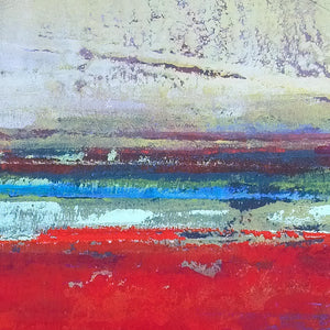 "Closeup detail of red abstract beach wall art ""Cherry Hollow,"" giclee print by Victoria Primicias"