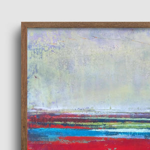 "Closeup detail of red abstract seascape painting ""Cherry Hollow,"" fine art print by Victoria Primicias"