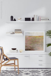 "Pink abstract seascape painting ""Cherry Inlet,"" printable wall art by Victoria Primicias, decorates the office."