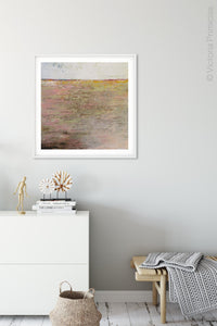 "Pink abstract seascape painting ""Cherry Inlet,"" printable wall art by Victoria Primicias, decorates the hallway."