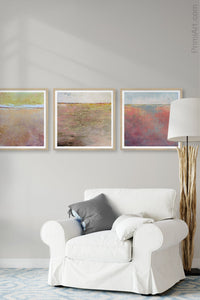 "Pink abstract beach wall decor ""Cherry Inlet,"" printable wall art by Victoria Primicias, decorates the living room."