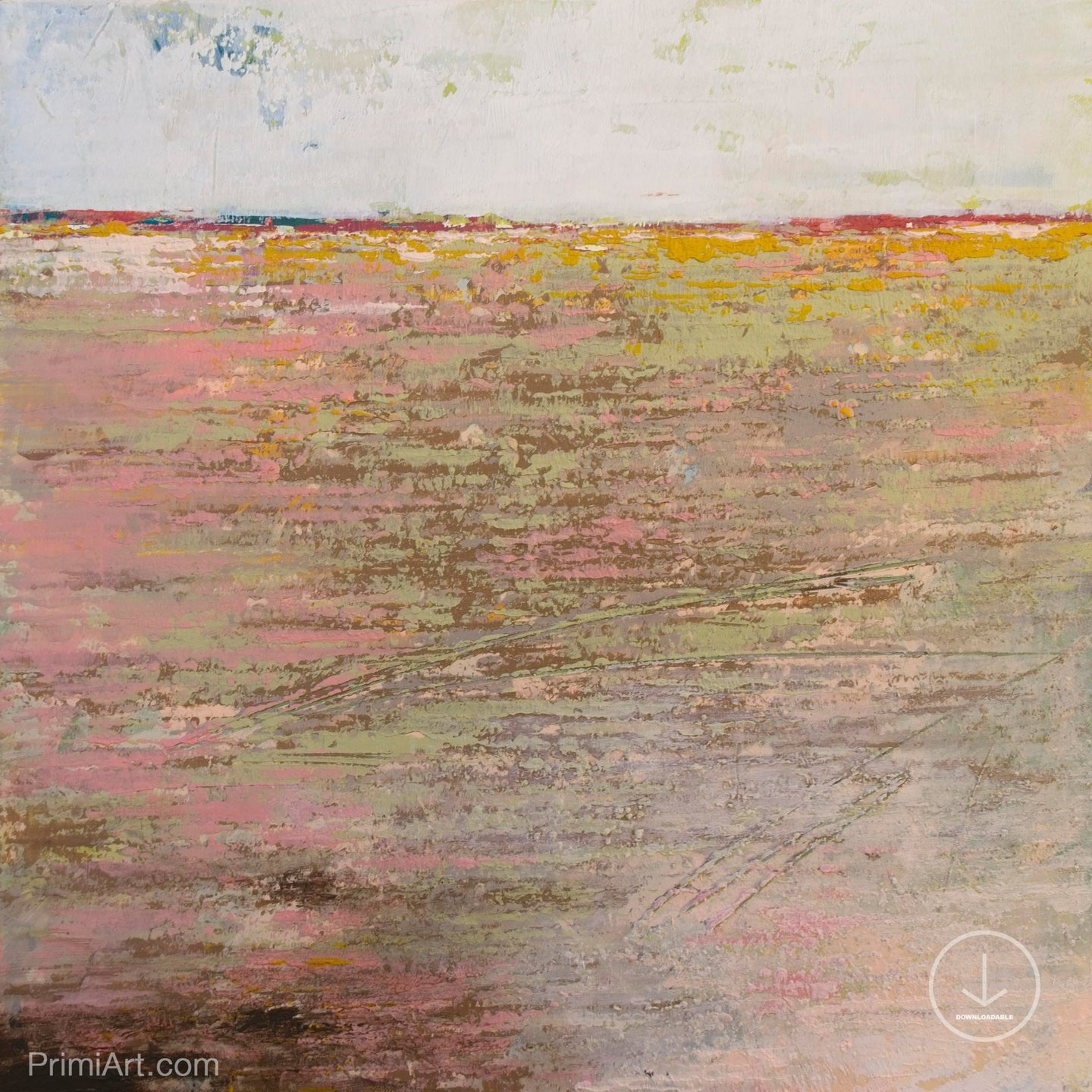 Pink abstract seascape painting