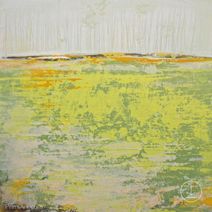 "Bright abstract landscape painting ""Citrus Morning,"" downloadable art by Victoria Primicias"