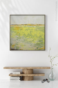 "Bright abstract landscape art ""Citrus Morning,"" downloadable art by Victoria Primicias, decorates the entryway."
