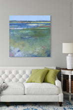 "Load image into Gallery viewer, Coastal abstract beach art ""Color Dance,"" metal print by Victoria Primicias, decorates the living room."