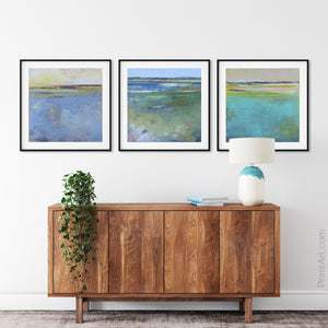 "Coastal abstract beach wall art ""Color Dance,"" fine art print by Victoria Primicias, decorates the entryway."