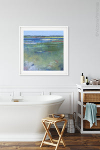 "Coastal abstract seascape painting""Color Dance,"" wall art print by Victoria Primicias, decorates the bathroom."