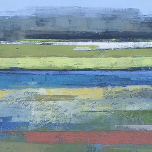 "Closeup detail of coastal abstract seascape painting""Color Dance,"" wall art print by Victoria Primicias"