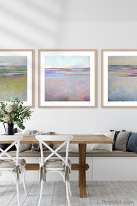 "Square abstract beach wall decor ""Common Threads,"" digital download by Victoria Primicias, decorates the dining room."