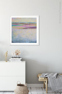 "Square abstract seascape painting ""Common Threads,"" digital download by Victoria Primicias, decorates the hallway."