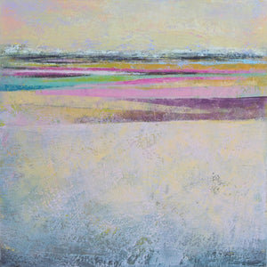 "Pink abstract seascape painting ""Common Threads,"" giclee print by Victoria Primicias"