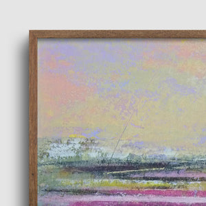 "Closeup detail of pink abstract seascape painting ""Common Threads,"" giclee print by Victoria Primicias"