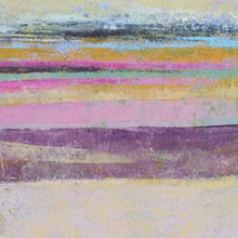 "Load image into Gallery viewer, Closeup detail of pink abstract beach wall art ""Common Threads,"" canvas wall art by Victoria Primicias"