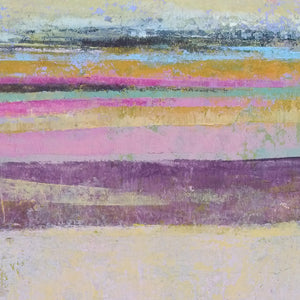 "Closeup detail of pink abstract beach wall art ""Common Threads,"" canvas wall art by Victoria Primicias"