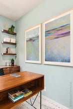 "Load image into Gallery viewer, Pink abstract beach wall art ""Common Threads,"" canvas wall art by Victoria Primicias, decorates the office."
