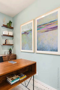 "Pink abstract beach wall art ""Common Threads,"" canvas wall art by Victoria Primicias, decorates the office."