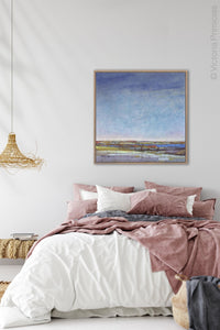 "Coastal abstract beach wall art ""Confetti Chorus,"" printable art by Victoria Primicias, decorates the bedroom"