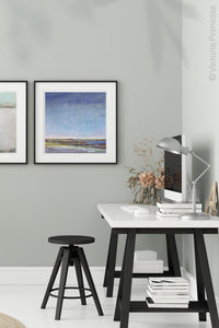 "Coastal abstract beach wall art ""Confetti Chorus,"" digital art by Victoria Primicias, decorates the office"