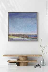 "Blue abstract beach wall decor ""Confetti Chorus,"" giclee print by Victoria Primicias, decorates the entryway."