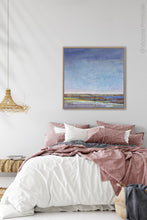 "Load image into Gallery viewer, Blue abstract beach wall art ""Confetti Chorus,"" fine art print by Victoria Primicias, decorates the bedroom"