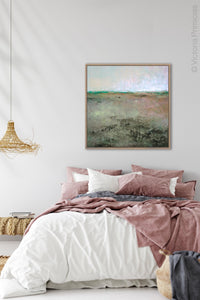 "Zen abstract landscape painting ""Coral Belles,"" digital download by Victoria Primicias, decorates the bedroom."